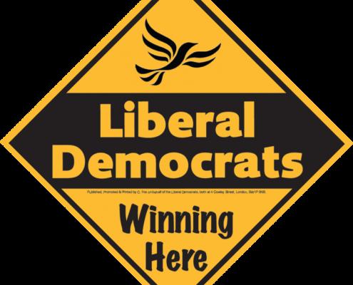 Liberal Democrats Winning Here Sign